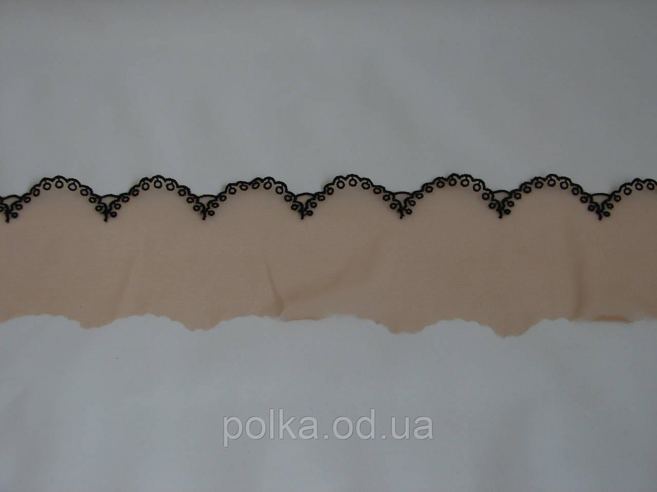 """Вышивка на сетке """"ажур"""", ширина 8см, цвет бежевый с черным, Италия"""