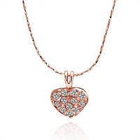 Кулон «Сердце в диамантах» с покрытием золотом 750 пробы, купить