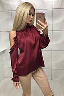 1a7ec07f631 Шелковая блуза с длинным рукавом и открытыми плечами ft-354 бордовая