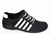 Туфли спортивные кроссовки мужские черные на шнурках прошиты удобные хорошая полнота. Топ