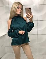 604a4028302 Шелковая блуза с длинным рукавом и открытыми плечами ft-354 зелёная