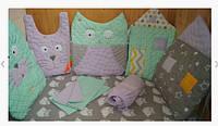 Комплект постельного белья в детскую кроватку, бортики  защита Hand Made