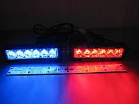 Стробоскоп светодиодный, фара вспышка,  красно/синий,S5-6 LED  комлект