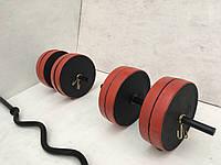 Гантели по 20 кг + W-гриф (диски с красной каймой)