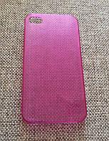Стильный пластиковый чехол iphone 4 розовый, фото 1