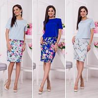 Модный женский костюм кофта + юбка принт цветы норма / Украина / креп-костюмка