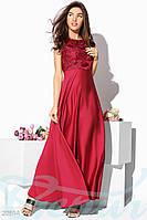 Длинное нарядное атласное платье. Цвет марсала.