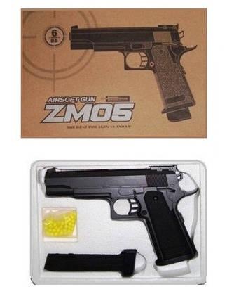 Игрушечный пистолет ZM05, с пульками, магазин на 9 пулек, пластик+метал. Пистолет ZM 05., фото 2