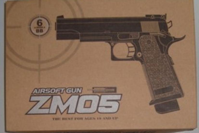 Игрушечный пистолет ZM05, с пульками, магазин на 9 пулек, пластик+метал. Пистолет ZM 05.