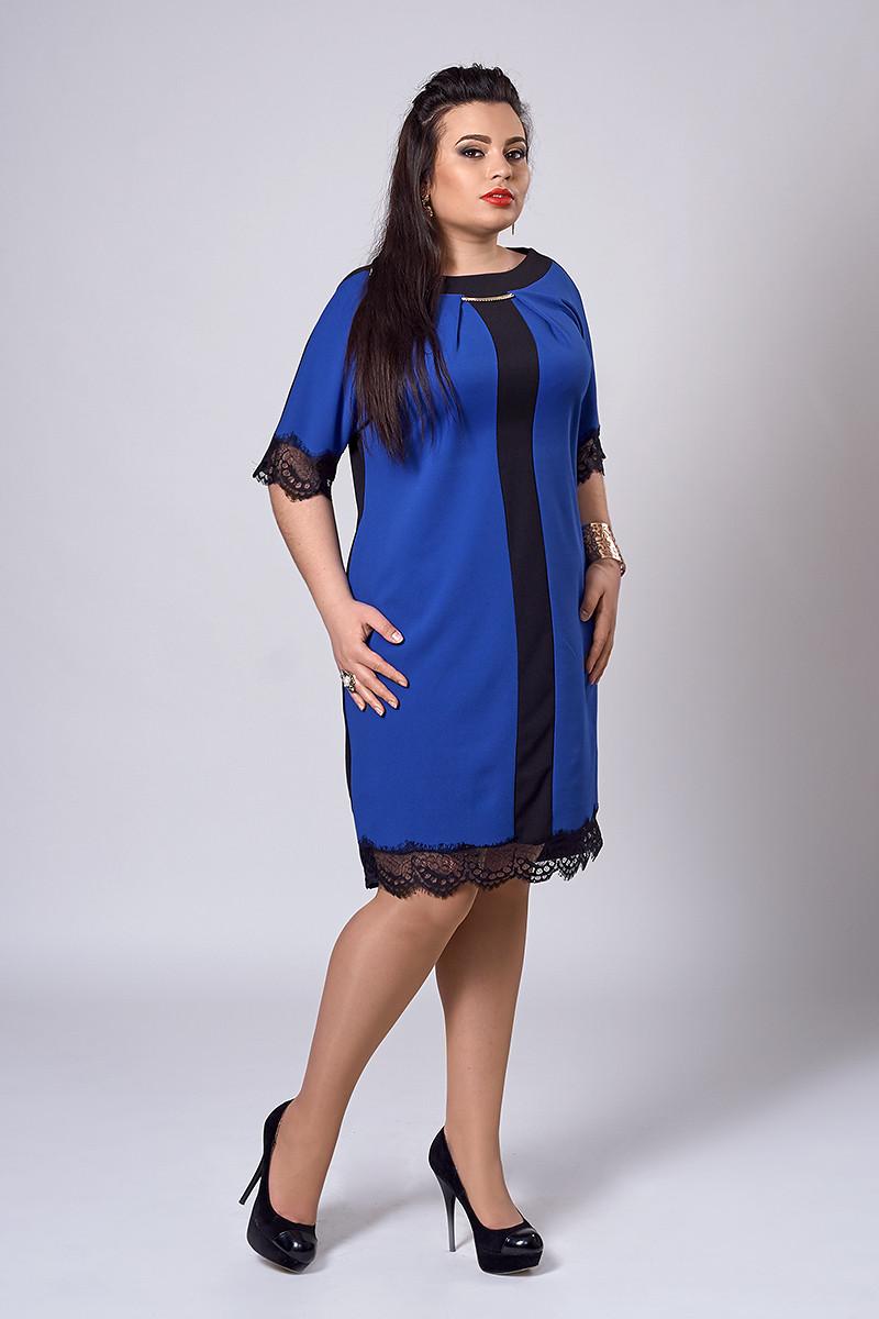 Платье женское модель №283-4, размеры 52 электрик