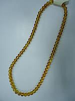 Янтарь желтый с красными прожилками Шарик 8мм Бусы 45-50 см Имитация