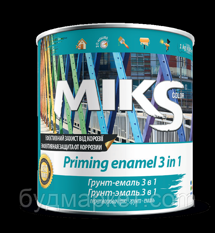 Грунт-емаль 3 в 1 Miks зелена 0,8 кг