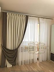 Шторы в гостиную с балконом (Нора)