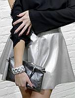 Женская юбка  серебристая короткая кокетка