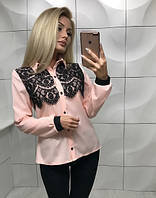 Блуза женская с кружевом и длинным рукавом (S, M) ft-353 розовая
