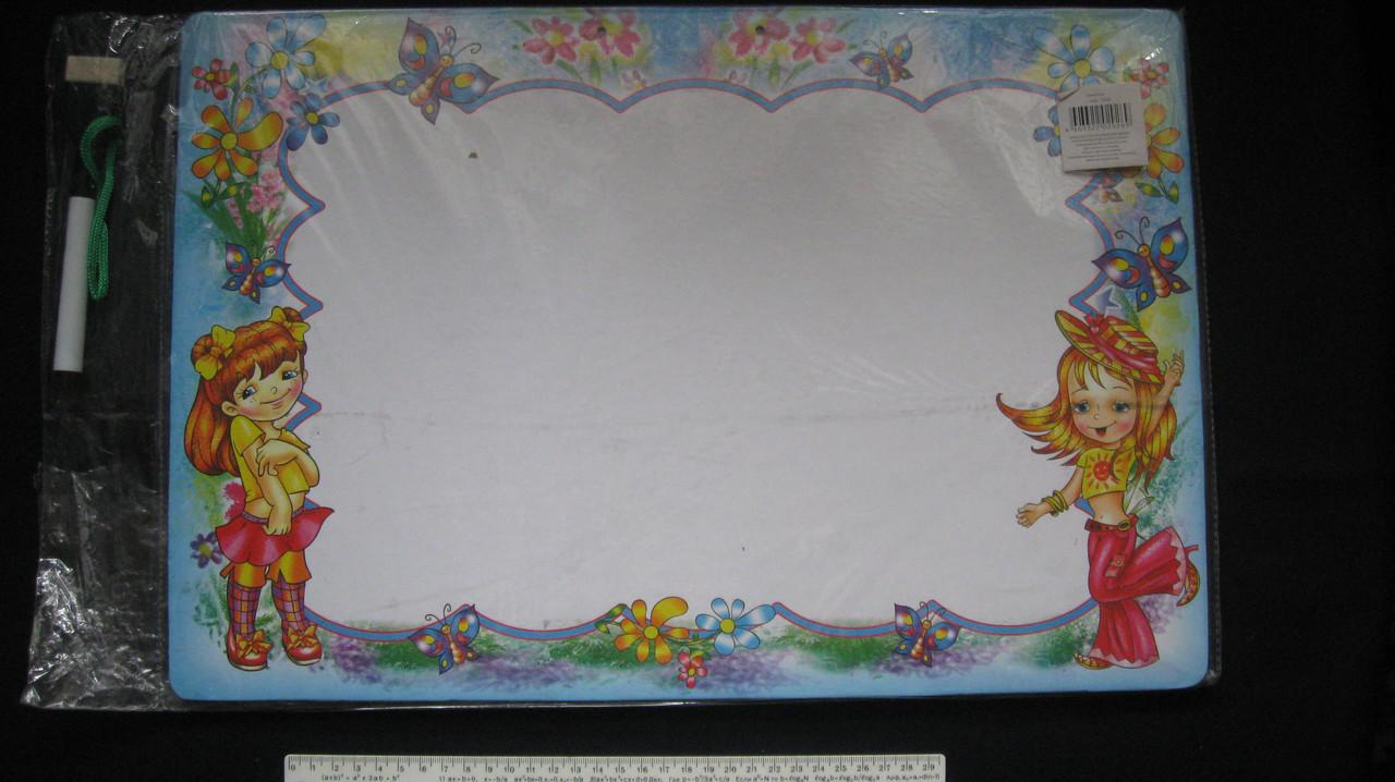 Доска для сухостираемого маркера, картонаая, двухстороння. 47 х 32 см