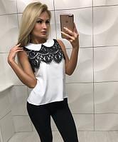 Женская блуза с кружевом без рукава