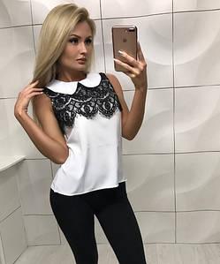 Женская блуза с кружевом без рукава /белая, S, M, ft-352/