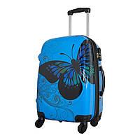 Чемодан на колесах Monopol  midi Butterfly голубой