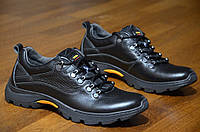 Ботинки спортивные кроссовки мужские натуральная кожа, черные супер качество весна осень 2017. Топ