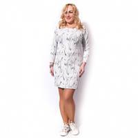 Женское платье большого размера белое 50-52, белый, фукра