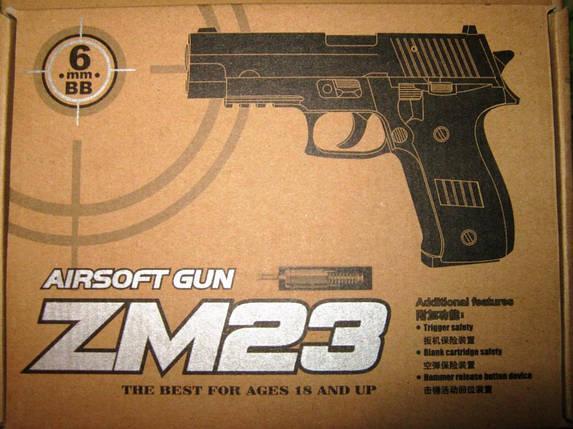 Игрушечный пистолет на пульках. Пистолет ZM23, пластик, металлический корпус, пульки 6мм. , фото 2