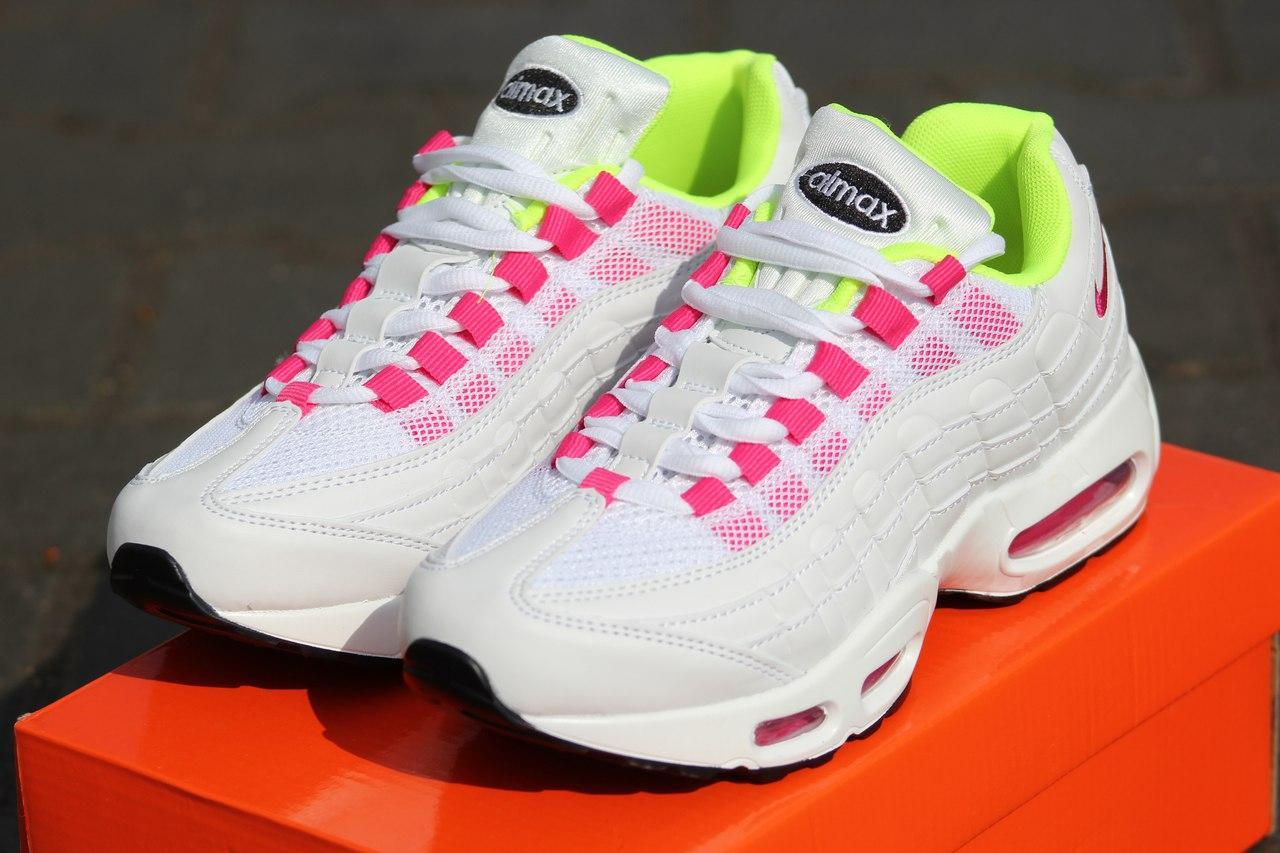 Кроссовки женские (подростковые) Nike air max 95,летние, белые с розовым