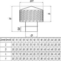 Искрогаситель для дымохода из нержавеющей стали d 140мм s 0,5мм