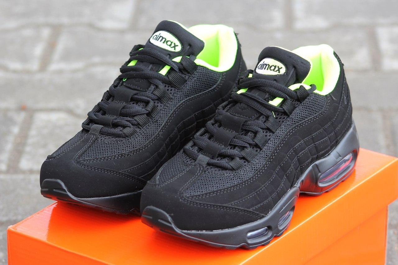 Крутые кроссовки Nike air max 95 летние черные с салатовым