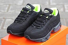 Крутые кроссовки Nike air max 95 летние черные с салатовым, фото 2