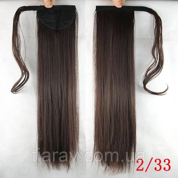 Шиньон хвост на ленте 60 см темно - коричневый натуральный волосы