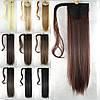Шиньон хвост на ленте 60 см темно - коричневый натуральный волосы, фото 2