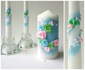 """Набор свечей """"Весенний"""" (голубой, розовый)"""