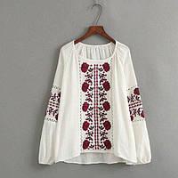 Блузка женская вышитая 404414 Блузки с вышивкой реплика Zara