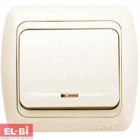 Выключатель 1-клавишный с подсветкой.LED крем EL-BI Tuna 502-0300-201 (без вставки)