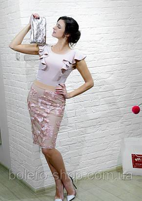 Женская юбка карандаш розовая с нашитыми цветами , фото 2