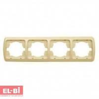 Рамка 4 поста крем EL-BI Tuna 502-0300-228 горизонтальная, вертикальна (без вставки)