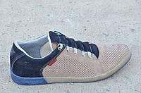 Спортивные туфли, кроссовки мужские летние бежевые натуральная кожа, нубук. Топ
