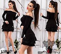 Ангоровое платье с открытыми плечами, декорировано воланами по низу и по горловине.