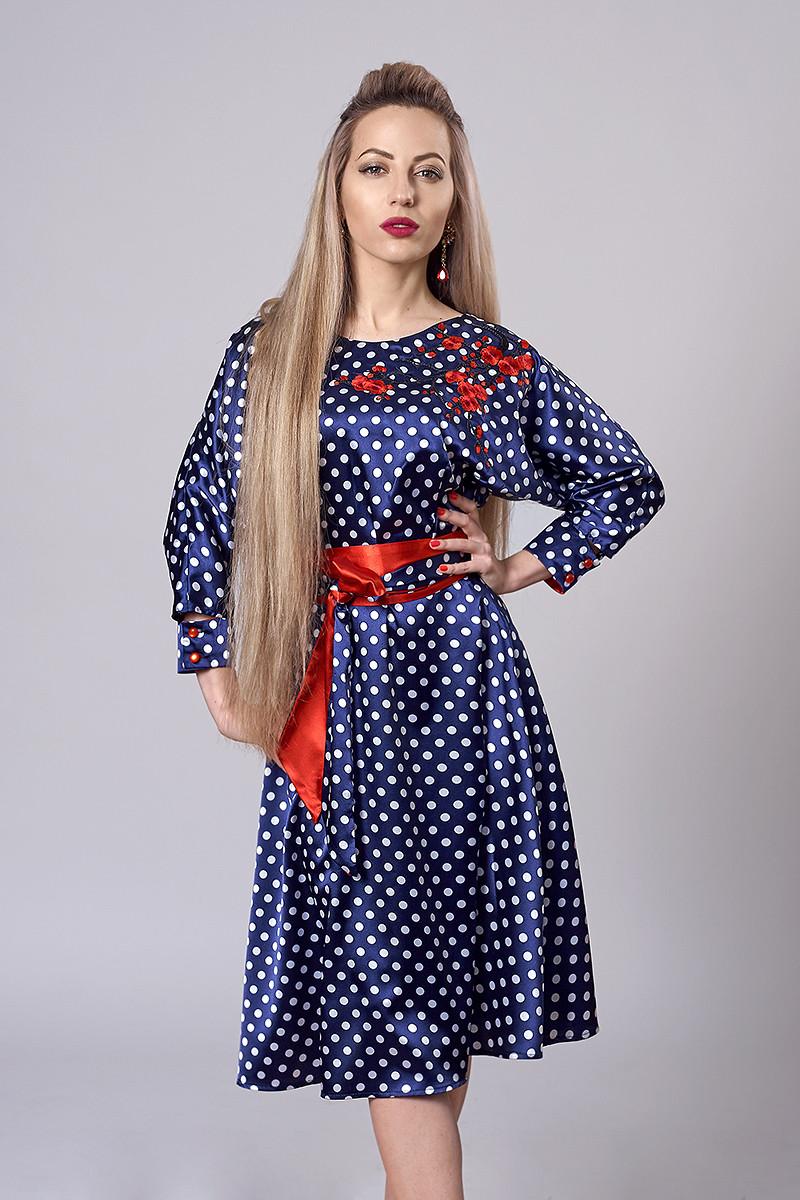 Платье  мод 510-1 размер 40-42,44-46,46-48 синий атлас