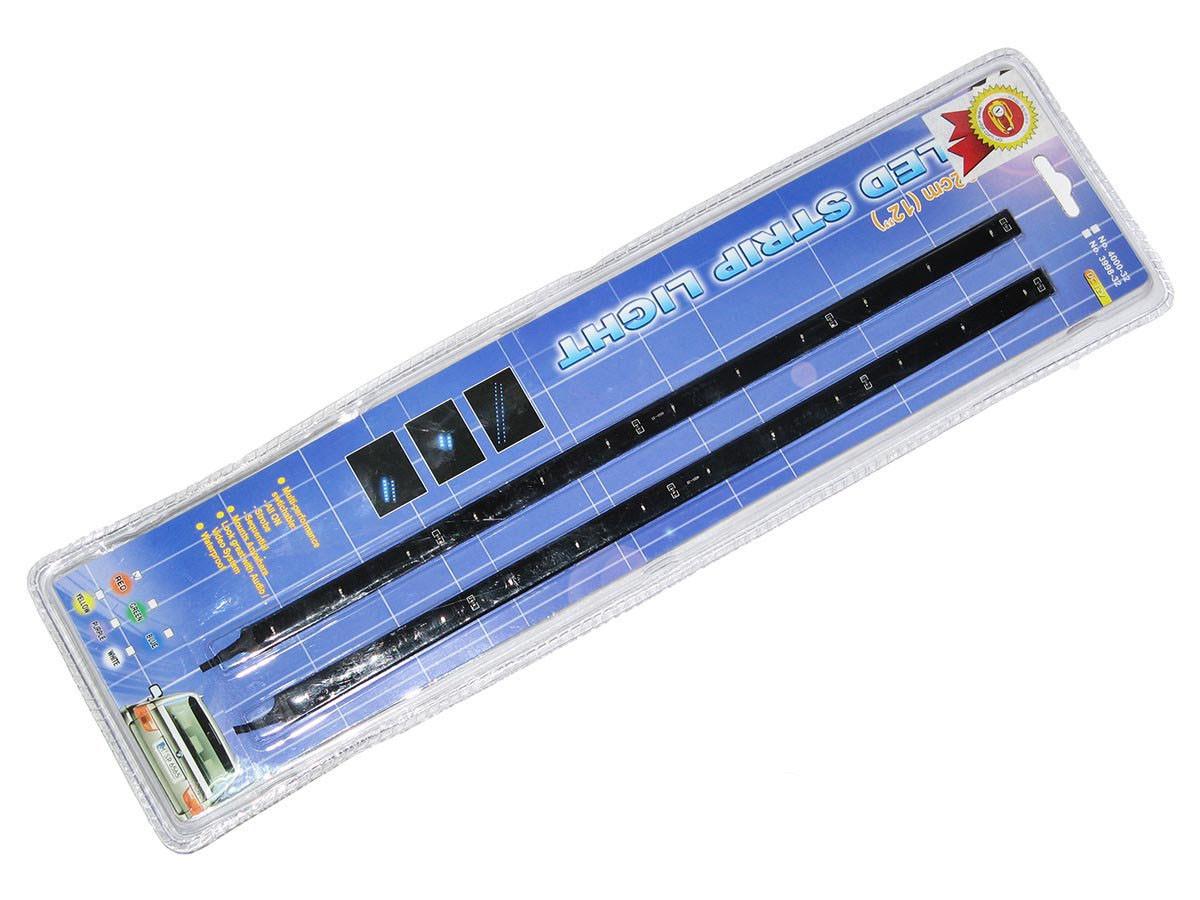 Подсветка салона 90101G-32  12LEDх32см в прикурив/звук.сенсор/зелёная (пара)