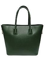 Женская  сумка из натуральной кожи фабричная (отшита  в Италии) зеленого цвета, на две ручки