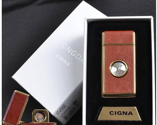 """Спиральная USB зажигалка """"Louis Vuitton"""" №4792B-2, отличный подарок, обтянута кожей, в коробке, выделяемся , фото 2"""
