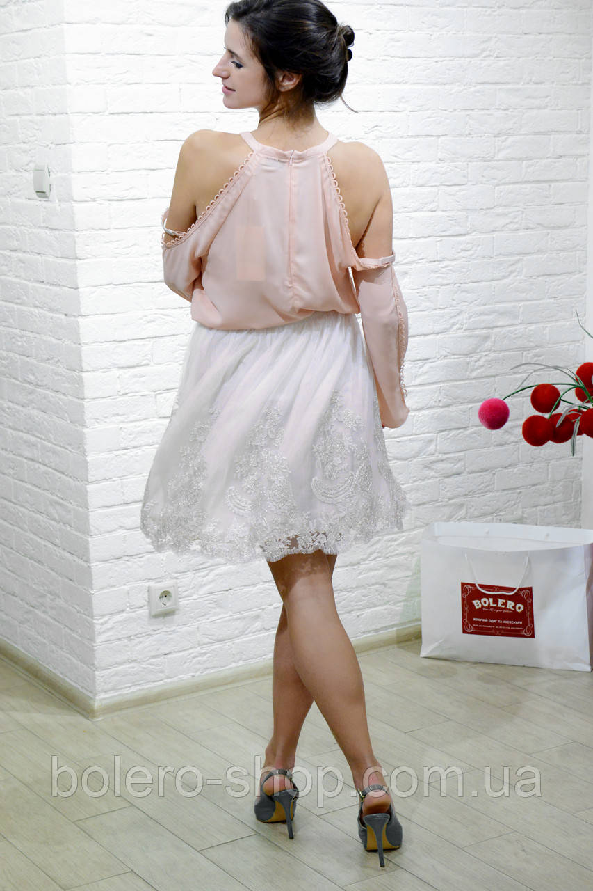 Женская юбка фатиновая бежевая итальянская