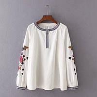 Блузка женская вышитая 404418 Блузки с вышивкой реплика Zara