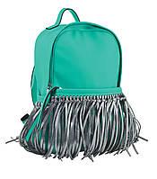 Стильная cумка-рюкзак  Weekend от компании Yes  мятный с бахромой, 36*26*11
