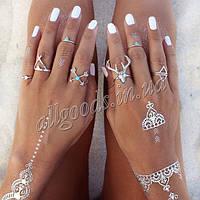 Кольцо, кольца на фаланги. Набор из 7 колец серебро