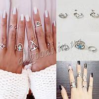 Кольцо, кольца на фаланги. Набор из 6 колец серебро