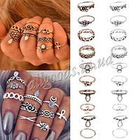 Кольцо: набор из 10 колец. Кольца на фаланги. Золото, серебро