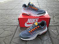 Женские Кроссовки Nike Air Max 95 Ultra оранжевые с серым сетка